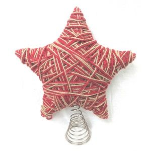 Christmas Tree Topper Star Spring Red Brown Yarn